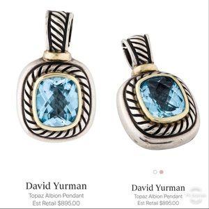 David Yurman Albion Pendant w/ Blue Topaz & 14K